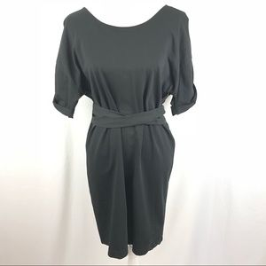 Zara belted black shift dress deep v back. Size L